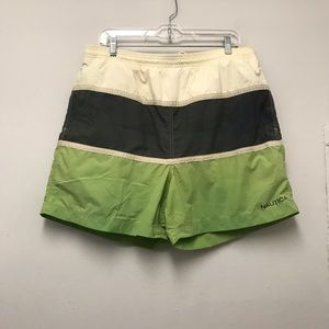 Nautica men's green/gray/white swim shorts…